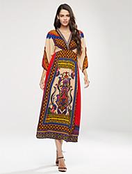 cheap -Women's Boho Casual/Day/Boho Print Swing Dress,V Neck Maxi Silk Beach Dress