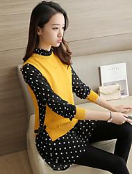 Women's Office/Career Daily Street Holiday Cute Long Pullover,Dot Shirt Collar Long Sleeves N/A Fall Medium Inelastic