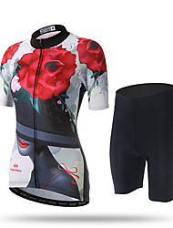 abordables -XINTOWN Femme Manches Courtes Maillot et Cuissard de Cyclisme - Noir/Rouge Vélo Cuissard  / Short Maillot Pantalon / Surpantalon, Séchage