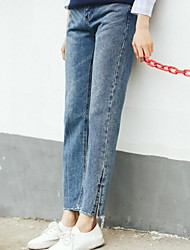Sign the dotted line 2017 new Korean embroidery loose straight waist jeans female split