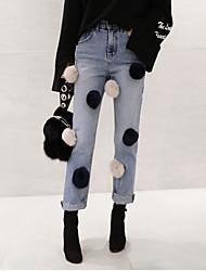 весной 2017 корейской версии новой тенденции, ведущей независимой реальный мех кролика мяч декоративный талии джинсы Нагимарош