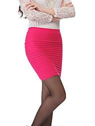 preiswerte -Damen Einfach Ausgehen Lässig/Alltäglich Mini Röcke Bodycon,Chiffon Solide Sommer