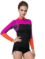 abordables -Mujer Camisa de neopreno 2mm Neopreno Top Diseño Anatómico, Transpirable Manga Larga Buceo Clásico Verano / Elástico