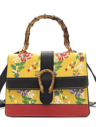 Women Bags All Seasons PU Tote Buttons Embroidery for Casual Office & Career White Black Red Yellow Army Green