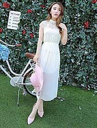 Sign high quality pearl collar lace chiffon dress stitching