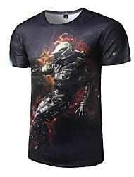 Masculino Camiseta Casual Activo Todas as Estações,Galáxia Poliéster Decote Redondo Manga Curta Média