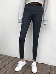 han cantou novos coreano calças verdadeiro tiro cor sólida cintura alta jeans pés Flash feminina calças reparação perna