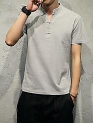 colore v-collo maglietta solido sottile maschio della camicia short modello giapponese