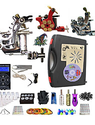 cheap -BaseKey Tattoo Machine Professional Tattoo Kit - 3 pcs Tattoo Machines LED power supply Case Included 1 steel machine liner & shader / 2 alloy machine liner & shader