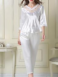 economico -top dei pigiami da donna& set di pantaloni, comodo pigiama di seta / poliestere rosa bianco
