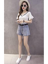 firmare i nuovi coreano vita alta short larghi gamba pantaloncini di jeans allentati femminili grandi cantieri era sottile una parola