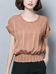 cheap -Women's Going out Work Plus Size Vintage Sophisticated All Seasons Blouse,Solid Round Neck Short Sleeves Rayon Polyester