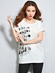 Real shot in summer 2016 new European and American big yards female t-shirt loose short-sleeved T-shirt was thin fat mm long section