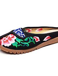 Недорогие -Черный Бежевый Красный Синий-Для женщин-Повседневный-Ткань-На плоской подошве-Удобная обувь-Мокасины и Свитер
