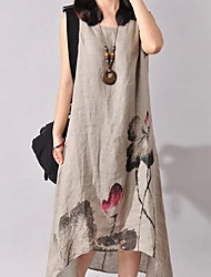 cheap -Women's Beach / Going out / Holiday Chinoiserie Cotton Loose Dress Print Asymmetrical
