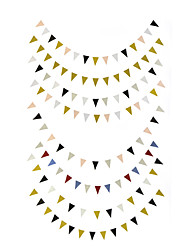 Pink White Gold Flag Banner Glitter Paper Pennant Bunting Garland Wedding Teepee Deco Birthday Party 3m 15Flags