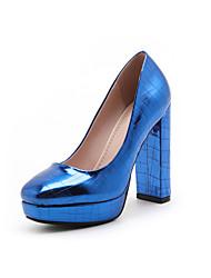 女性用 靴 エナメル 春 夏 ベーシックサンダル ヒール チャンキーヒール ラウンドトウ のために オフィス&キャリア パーティー シルバー レッド ブルー