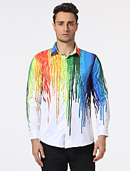 cheap -Men's Casual Cotton Shirt - Multi Color, Print Classic Collar