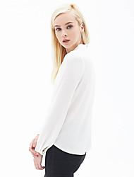 EBAY AliExpress Amazon's new hot cross V-neck long-sleeved white shirt chiffon shirt sexy
