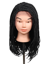 cheap -2017 hot sale lace frotal 3s box braids wig 16inch synthetic braiding wig dark brown black color 1pcs braids wigs kanekalon box braiding hair wigs