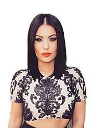 Femme Mi Longue Droite Noir Ligne de Cheveux Naturelle Au Milieu Coupe Carré Perruque de Cosplay Perruque Naturelle Perruque de fête