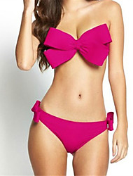 cheap -Women's Strapless Bandeau Bikini - Solid Colored, Bow Briefs
