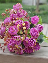 baratos -1 Ramo Poliéster Plástico Rosas Flor de Mesa Flores artificiais