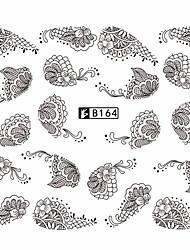cheap -5pcs/Style Fashion Nail Art Water Transfer Decals Sweet Black&White Lace Sticker Nail Art Beauty Design B164