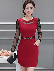 Недорогие -Для женщин На каждый день Классический и неустаревающий А-силуэт Платье Сплошной цвет,Круглый вырез Выше колена, мини Длинный рукав Не