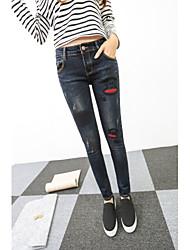 firmano 2017 nuovi jeans di pantaloni slim era sottile matita pantaloni piedi pantaloni labbra collage
