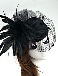 cheap -Feather / Net Fascinators / Flowers / Hats with Floral 1pc Wedding / Special Occasion Headpiece
