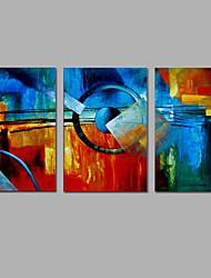Pintados à mão Abstrato Vertical,Moderno 3 Painéis Tela Pintura a Óleo For Decoração para casa