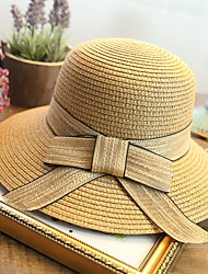 cheap -Women's Fashion Straw Hat Sun Hat Wide Brim/Bucket Hat Cute Casual Bowknot Summer Beige/Khaki/Fuchsia