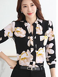 Women's Going out Simple Summer Fall Blouse,Print Shirt Collar Long Sleeves Polyester Medium