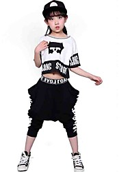 Girl's Cotton Fashion Pure Cotton Tie-dye Camouflage Printed Round Collar Short Sleeve Blouse Hip-hop Harlan His Pants Two-Piece Outfit