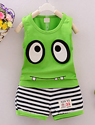cheap -Boys' Daily Sports Going out Striped Clothing Set, Cotton Summer Sleeveless Cartoon Stripes Green Yellow