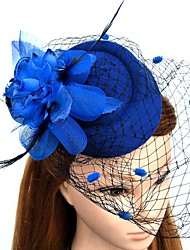 cheap -Feather Net Fascinators Flowers Hats Headwear Wreaths Birdcage Veils with Floral 1pc Wedding Special Occasion Headpiece