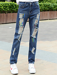 Sign waist jeans female hole paint spring big yards fat MM casual students loose beggar