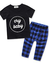 Boy Leisure Suit Kids Letter Printing Short Sleeve Cottom  T-shirt Lattice Long Pants Baby Clothing Set
