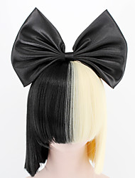 cheap -Synthetic Wig SIA NEW  Big Bow and hairnet Black Half Blonde Sia Styling Party Wigs