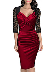 cheap -Women's Party Work Sheath Dress,Solid Sweetheart Knee-length Polyester Summer Mid Rise Micro-elastic Medium