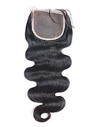 Chiusura capelli vergini della chiusura del merletto 3.5x4 nodi candeggiati brasiliana con i capelli del bambino per le donne nere di