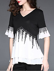 Women's Tassel Party Street chic Fall/Winter T-shirt,Solid High Neck Long Sleeve Blue/Black/Brown/Green Polyester Medium