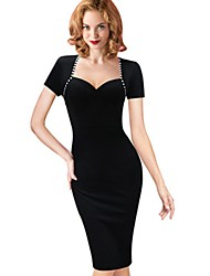 Women's Party Going out Bodycon Dress,Solid Square Neck Asymmetrical Short Sleeves Polyester Summer Mid Rise Micro-elastic Medium
