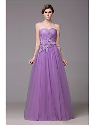 cheap -Ball Gown Sweetheart Floor Length Tulle Formal Evening Dress with Crystal Detailing Lace Sash / Ribbon by DRRS