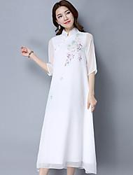 Недорогие -Для женщин На каждый день Классический и неустаревающий Прямое Платье Сплошной цвет,Воротник-стойка До середины икры Рукава до локтя Не