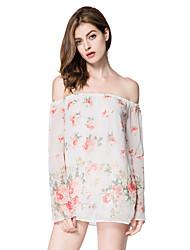 Europe flower print chiffon shirt trumpet sleeves bare shoulders