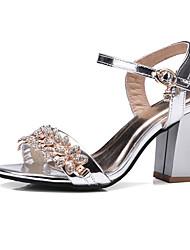 Da donna-Sandali-Matrimonio Ufficio e lavoro Formale-Club Shoes-Quadrato-PU (Poliuretano)-Oro Nero Argento Rosa