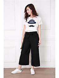 фото: 2017 весной и летом новые широкие брюки ноги корейской простой моды девять очков были тонкие женскими сыпучими случайными штанами