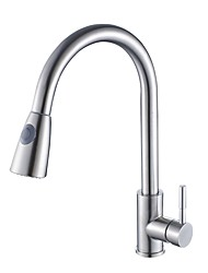 Contemporary Pull-out/­Pull-down Deck Mounted Pullout Spray Rotatable Ceramic Valve Single Handle One Hole Nickel Brushed , Kitchen faucet